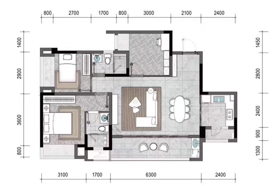 新天泽樾麓台三房户型图