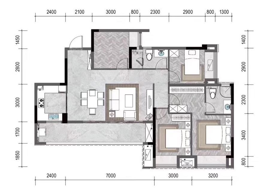 新天泽樾麓台4房户型图